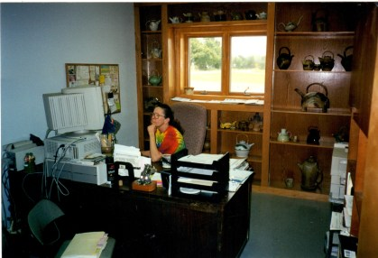 """Mom in her """"new"""" office in the """"new"""" building"""