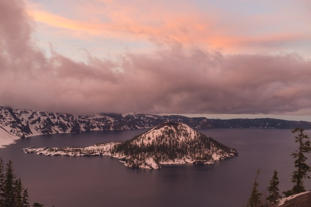 Crater Lake at Sunset from Discovery Point