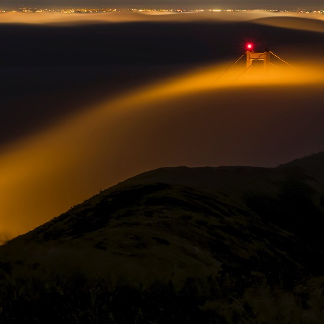 Golden Gate Bridge at Night with Fog