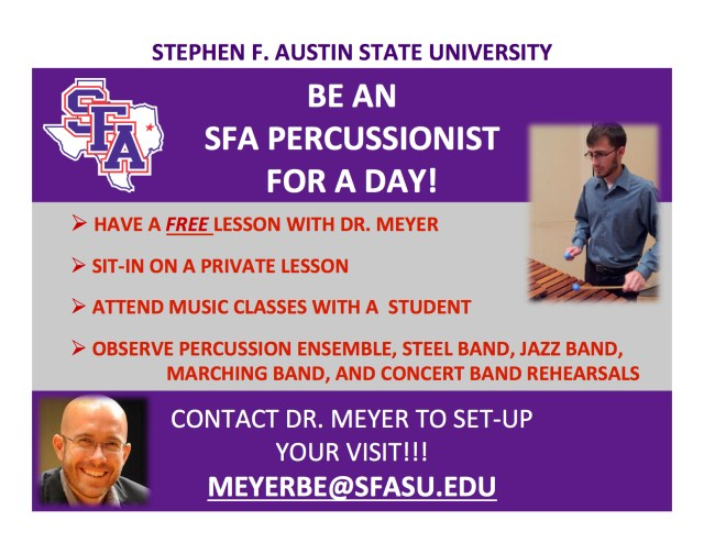 SFA Percussionist for a Day (poster)