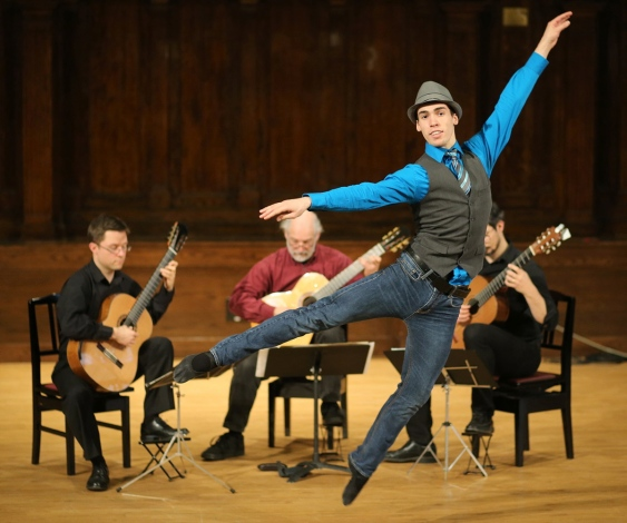 Ballet dancer Matthew Cluff performs with accompaniment from Bradford Werner, Douglas Hensley and Michael Dias at Alix Goolden Hall on Wednesday.   Photograph By ADRIAN LAM, Times Colonist