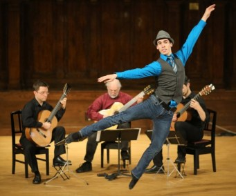 Ballet dancer Matthew Cluff performs with accompaniment from Bradford Werner, Douglas Hensley and Michael Dias. Photograph By ADRIAN LAM, Times Colonist