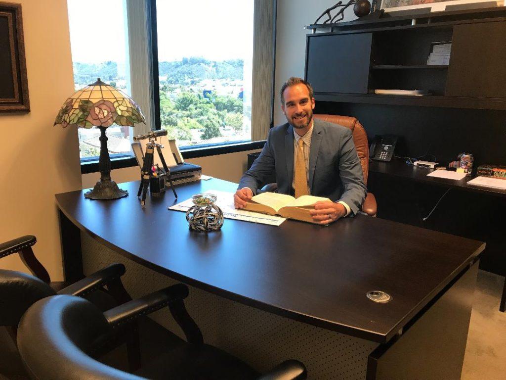 Attorney Bradley Corbett in his office