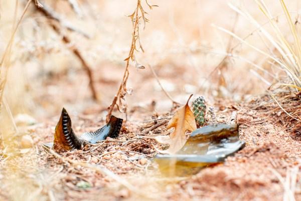 Broken glass in the garden of the gods, colorado springs, co.