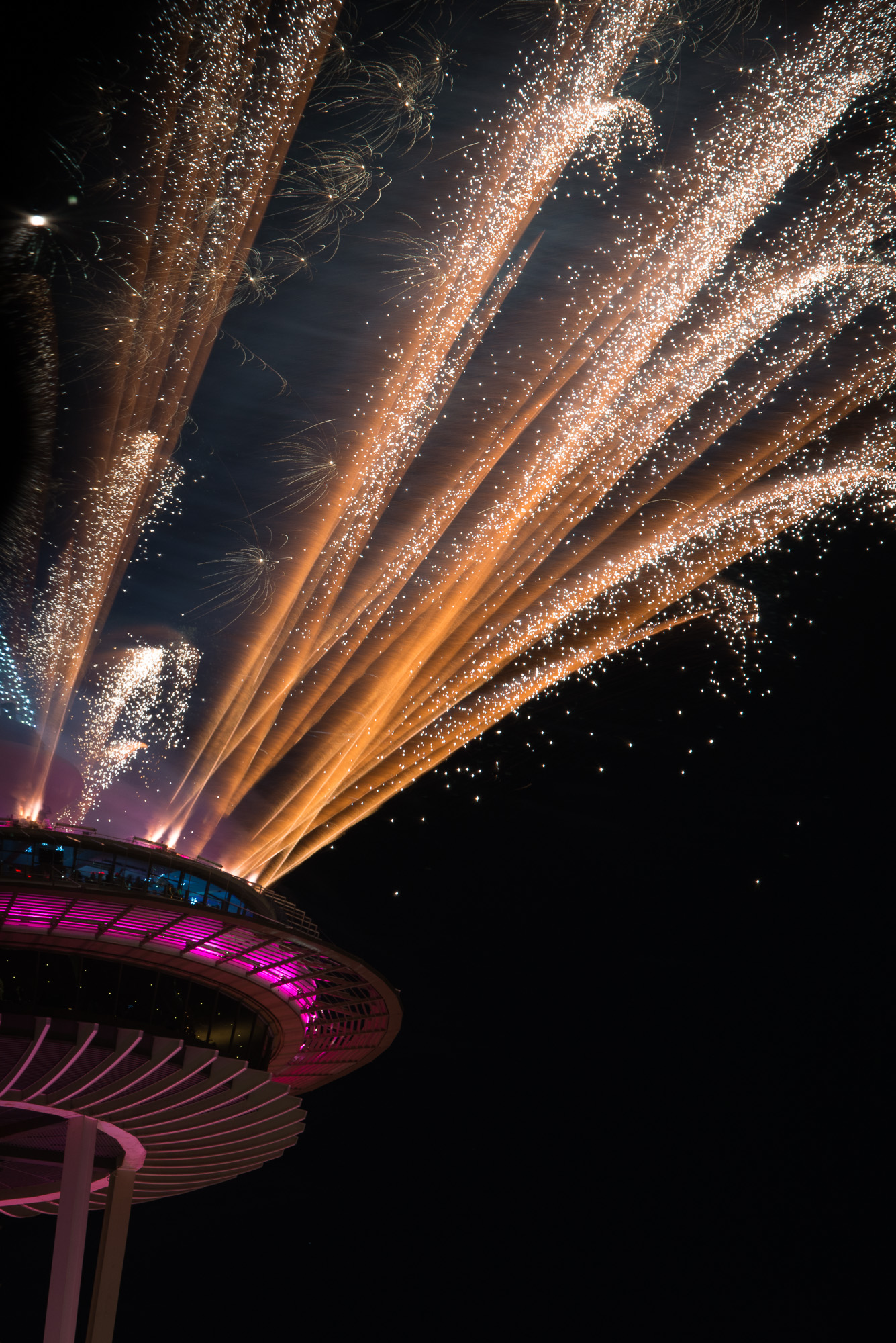 2015 New Years Eve fireworks over the Space Needle