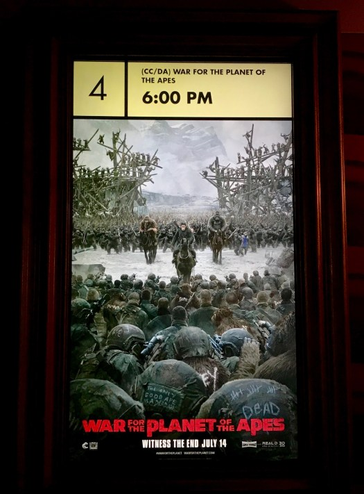 War For the Planet Of The Apes poster at Alamo Drafthouse Littleon