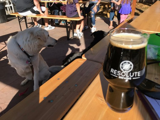 The girls on the patio at Resolute Brewing