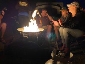 Suzie, Paul, Tice and Ilene enjoying the campfire