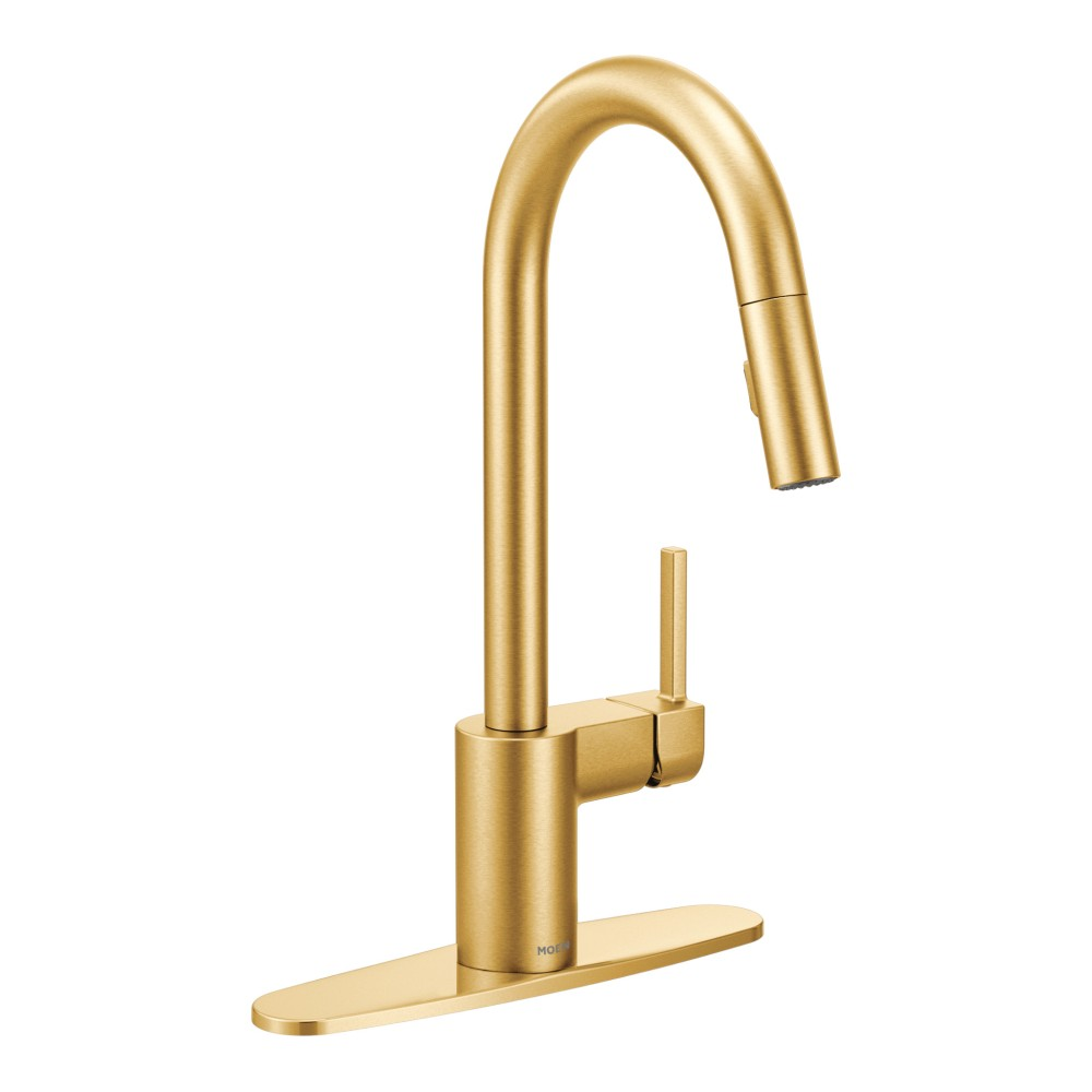 gold kitchen faucet cabinet shelf moen align brushed one handle high arc pulldown