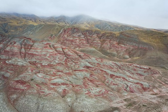 Candy Cane Mountains Azerbaijan otherworldly landscapes