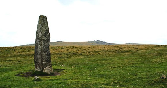 Merrivale menhir South Devon England UK by Herbythyme Wikimedia Commons