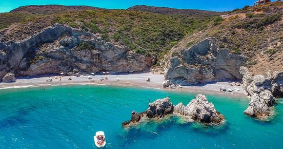 Kaladi beach Kythira Peloponnese Greece Pit Stock, Shutterstock
