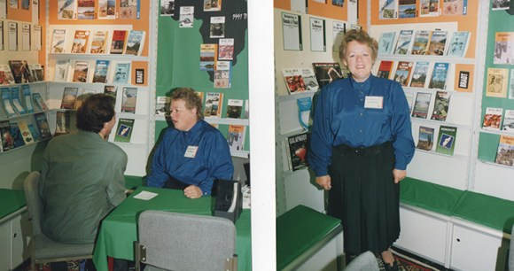 Janet manning the Bradt stand at the Frankfurt Book Fair © Hilary Bradt