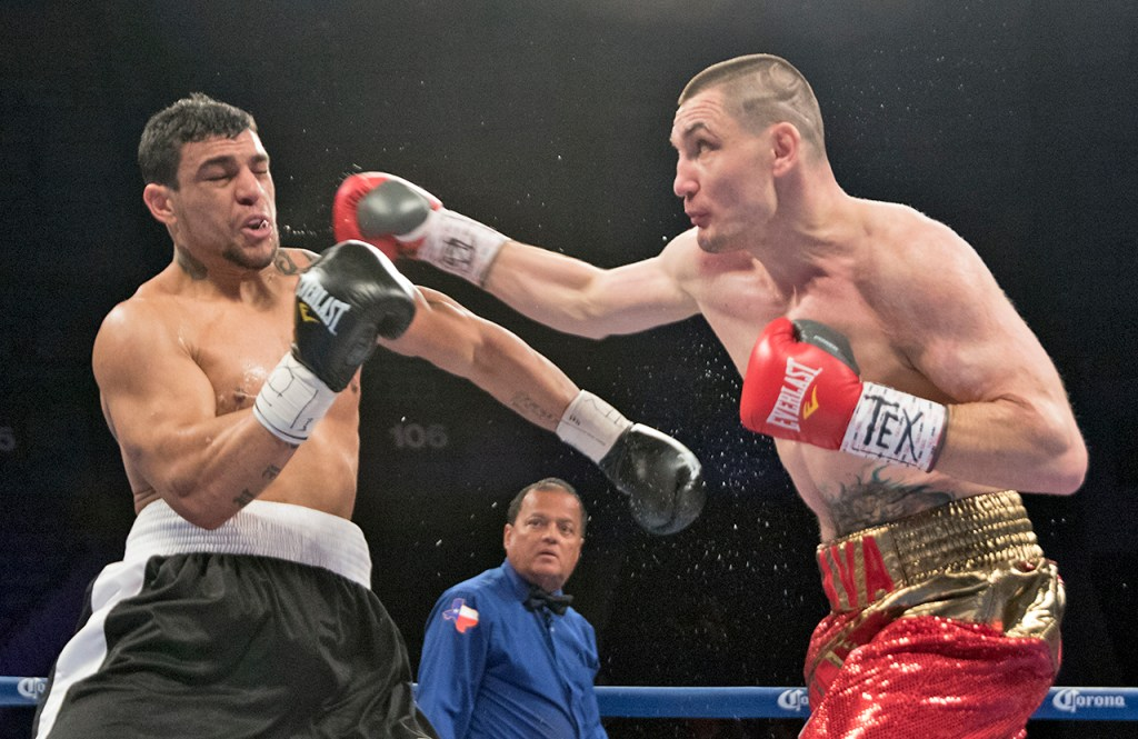 Vyacheslav Shabranskyy lands a punch against Fabiano Pena in their WBC USNBC light heavyweight title during the HBO Latino boxing fights on March 12, 2015, in Freeman Coliseum in San Antonio, Texas.