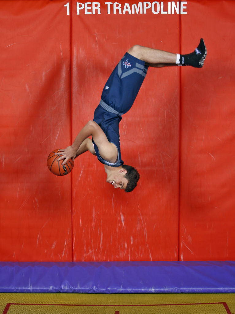 Trinity Christian's Alec Ewald a Lone Star Varsity Boy's Basketball Super Team member. Photographed on Wednesday, March 29, 2017, at Altitude Trampoline Park in Lubbock, Texas.