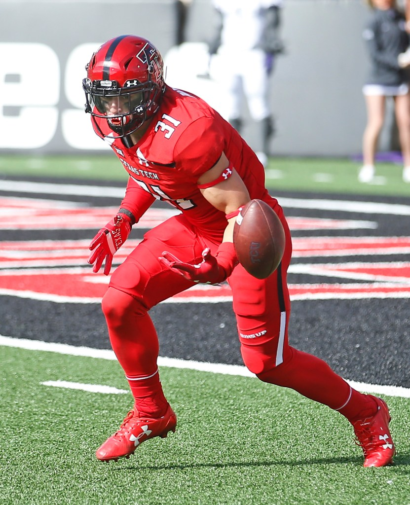 Texas Tech's Justus Parker fumbles the ball during the kickoff