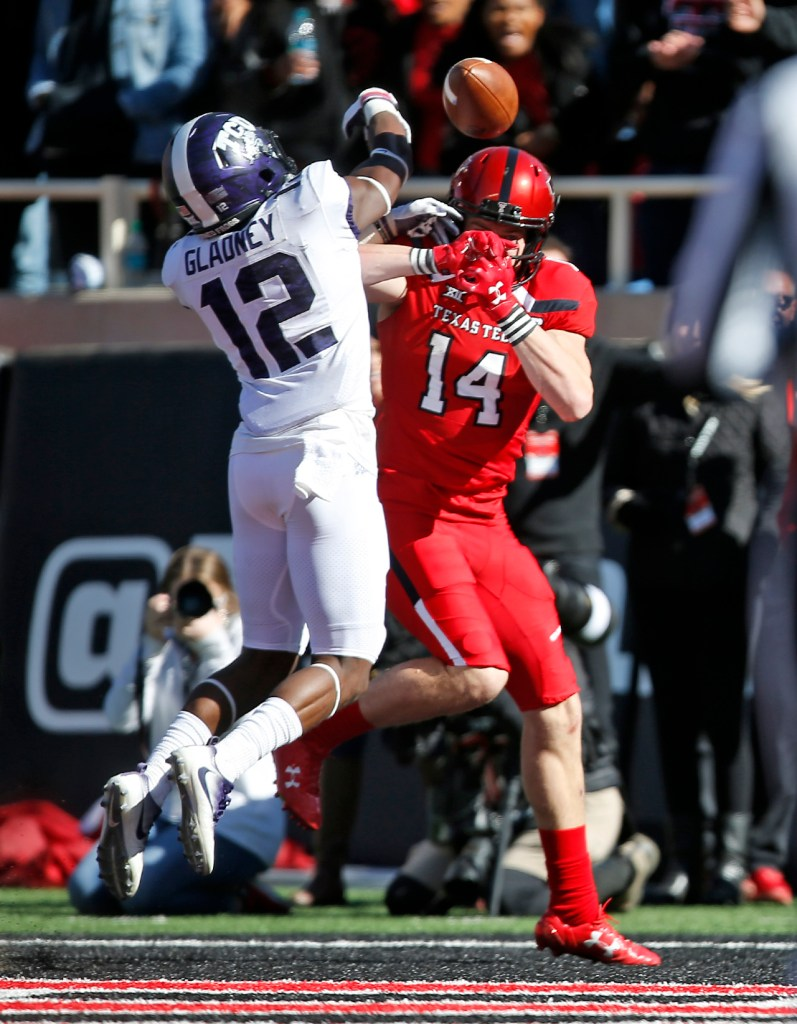 TCU's Jeff Gladney breaks up a pass meant for Texas Tech's Dylan Cantrell