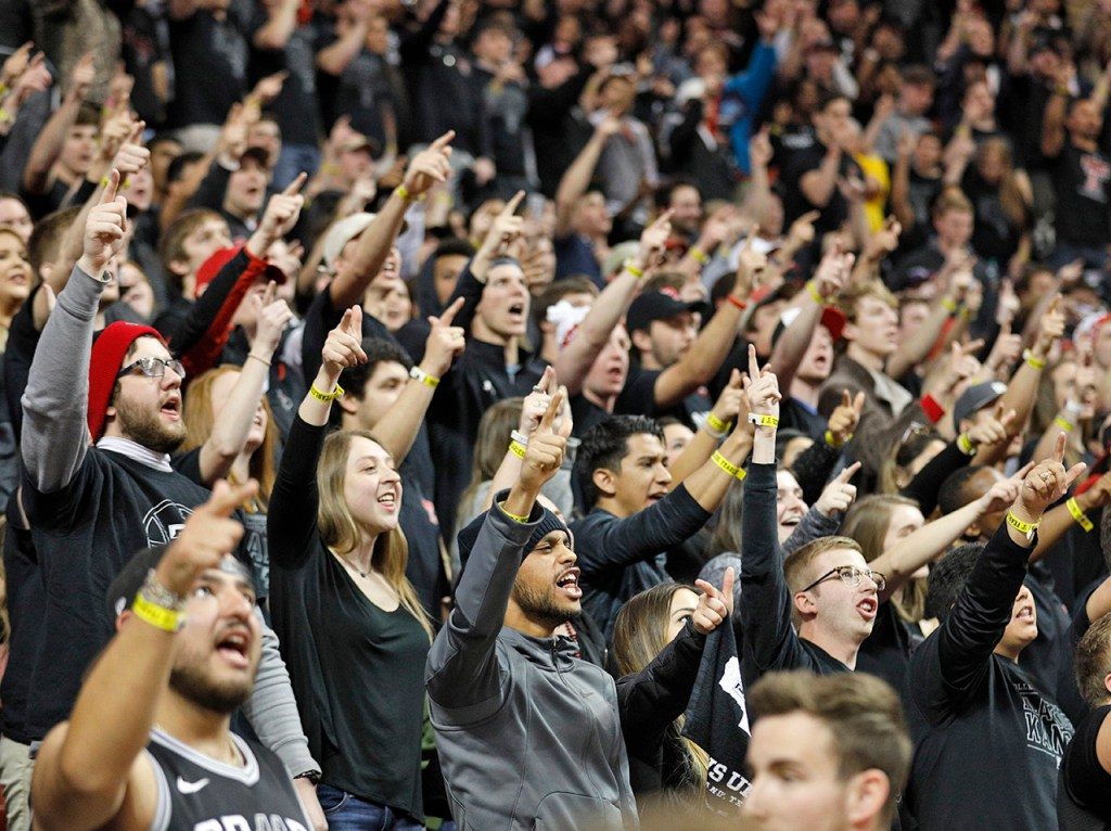 Texas Tech fans sing the Matador song before an NCAA college basketball game against Kansas, Saturday, Feb. 24, 2018, in Lubbock, Texas. (AP Photo/Brad Tollefson)