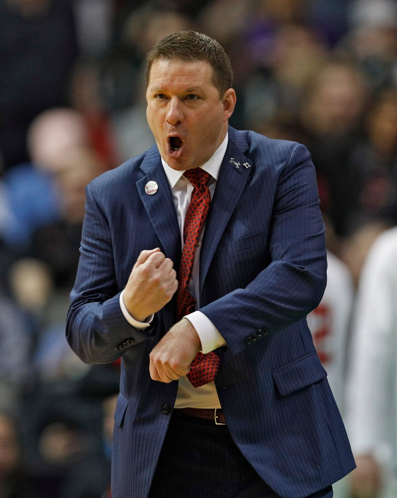 Texas Tech coach Chris Beard yells out at his players during an NCAA college basketball tournament first-round game against Stephen F. Austin, Thursday, March 15, 2018, at American Airlines Center in Dallas, Texas. [Brad Tollefson/A-J Media]