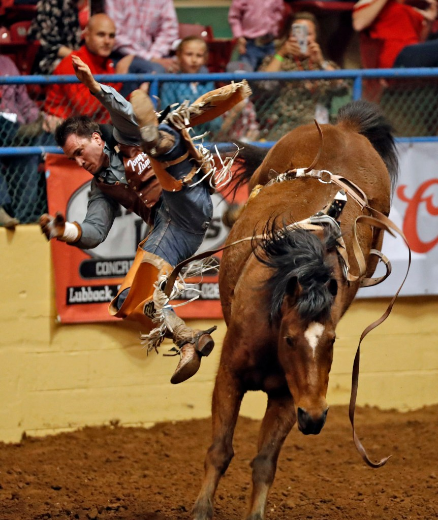 Willie McKinney (366) falls off the horse in the bareback riding competition during the ABC Pro Rodeo, Thursday, March 29, 2018, at Municipal Coliseum in Lubbock, Texas. [Brad Tollefson/A-J Media]
