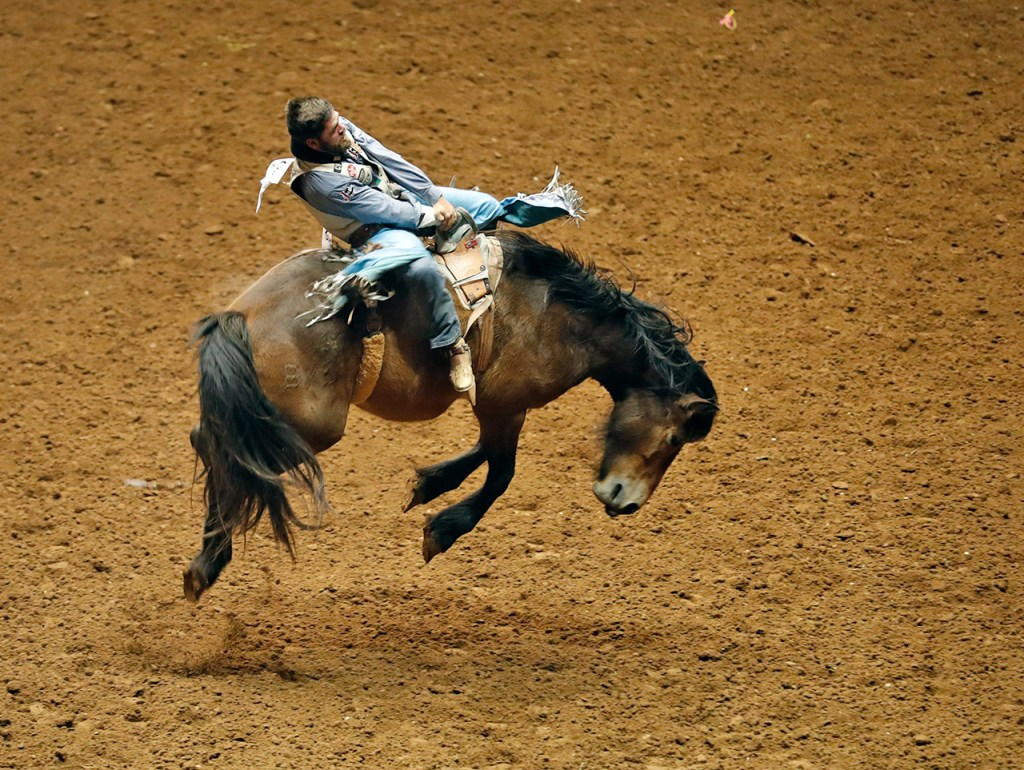 Luke Creasy, from Hobbs, N.M., rides the horse in the bareback competition during the ABC Pro Rodeo, Friday, March 30, 2018, at Municipal Coliseum in Lubbock, Texas. [Brad Tollefson/A-J Media]