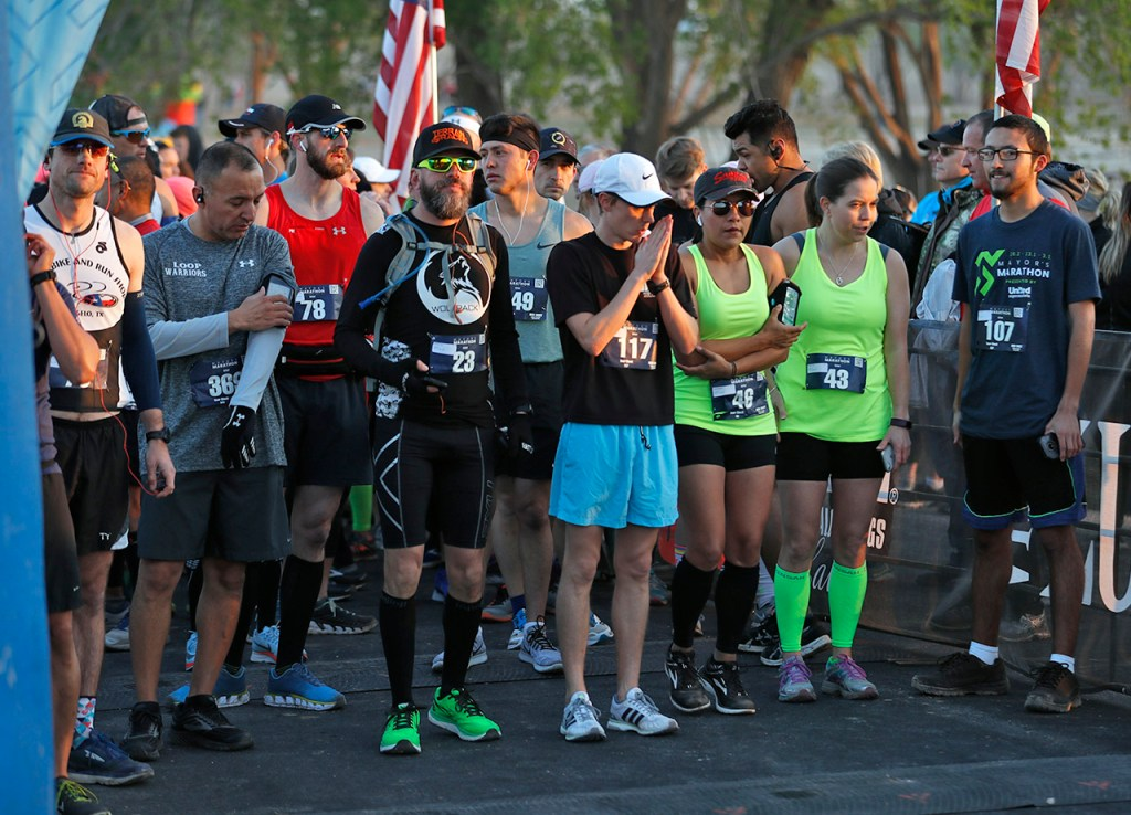 Competitors in the full marathon wait for the race to begin during the Mayor's Marathon, Sunday, April 22, 2018, at Berl Huffman Athletic Complex in Lubbock, Texas. [Brad Tollefson/A-J Media]