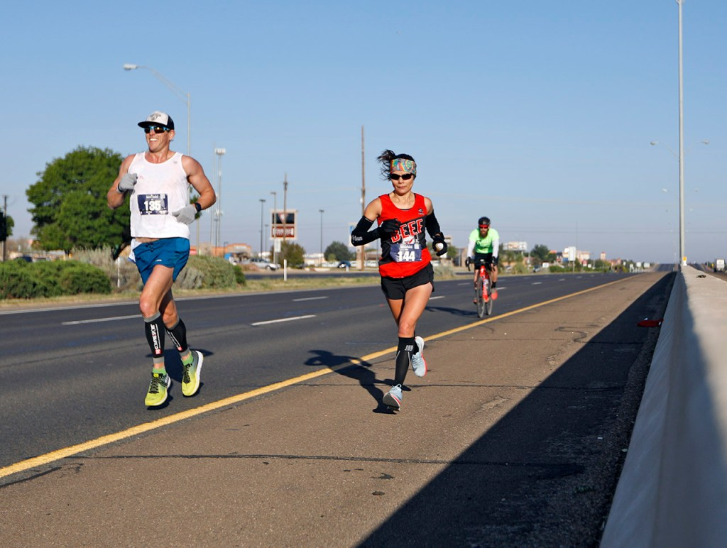 Competitors in the full marathon run along the loop during the Mayor's Marathon, Sunday, April 22, 2018, in Lubbock, Texas. [Brad Tollefson/A-J Media]