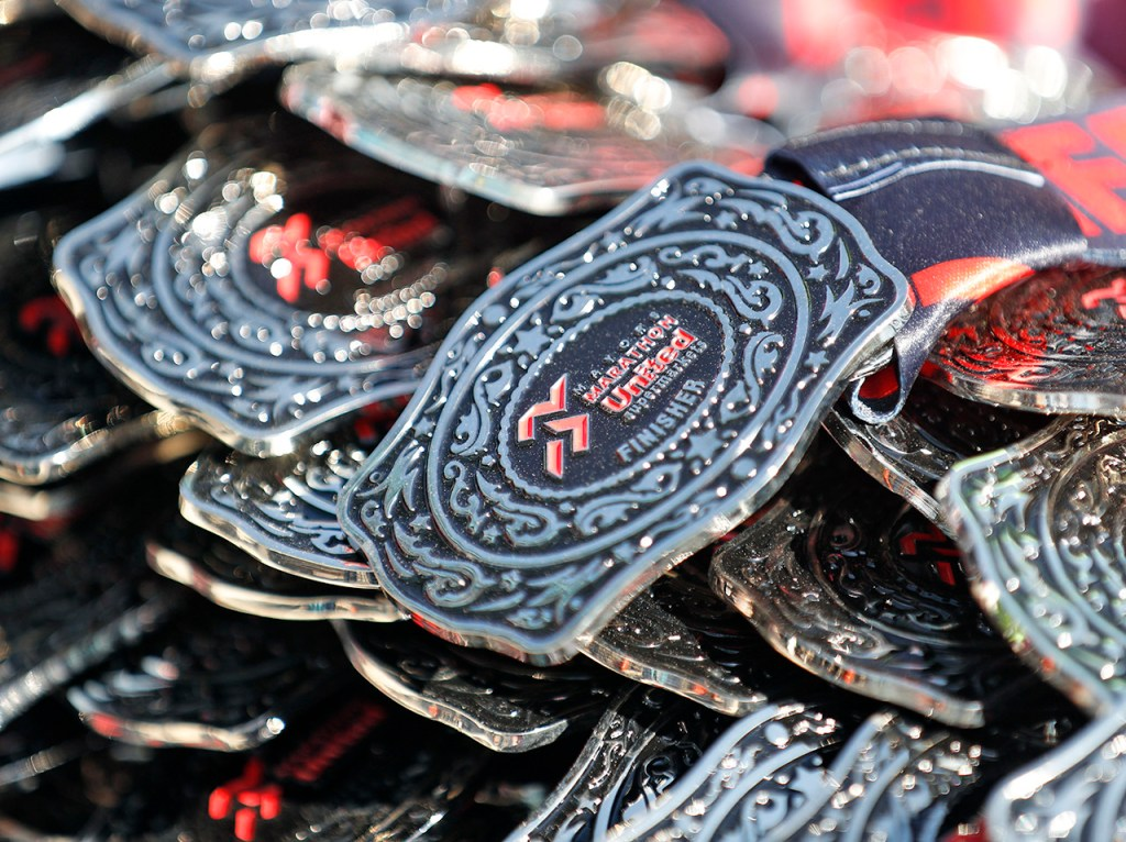 Medals for the full marathon finishers during the Mayor's Marathon, Sunday, April 22, 2018, in Lubbock, Texas. [Brad Tollefson/A-J Media]