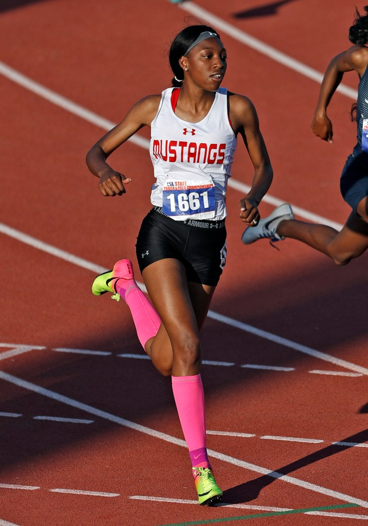 Monterey's Raven Woodson runs down the track in the 400 mete race during the UIL State Track and Field meet, Friday, May 11, 2018, at Mike A. Myers Stadium in Austin, Texas. [Brad Tollefson/A-J Media]