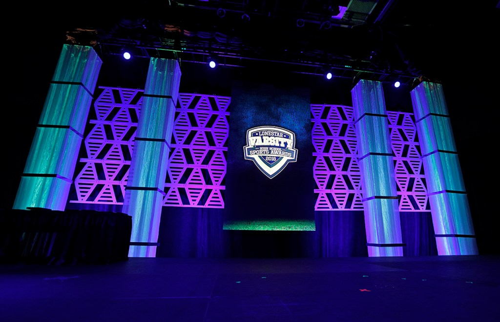 Stage design for the Lone Star Varsity High School Sports Awards Banquet, Wednesday, May 30, 2018, in Lubbock, Texas. [Brad Tollefson/A-J Media]