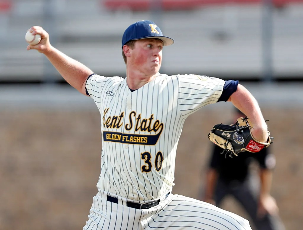 Kent State's Joey Murray (30) pitches the ball during an NCAA college baseball game against Louisville, Friday, June 1, 2018, in Lubbock, Texas. [Brad Tollefson/A-J Media]