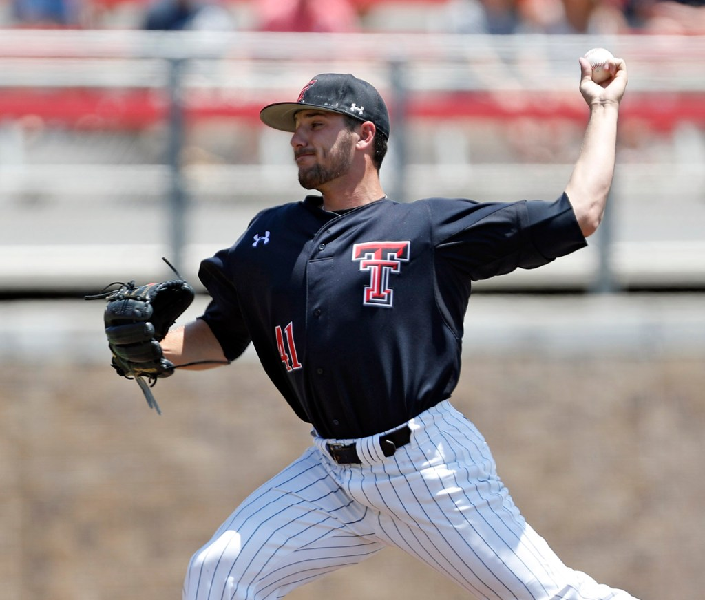 Texas Tech's Dylan Dusek (41) pitches the ball during an NCAA college baseball game against New Mexico State, Friday, June 1, 2018, in Lubbock, Texas. [Brad Tollefson/A-J Media]