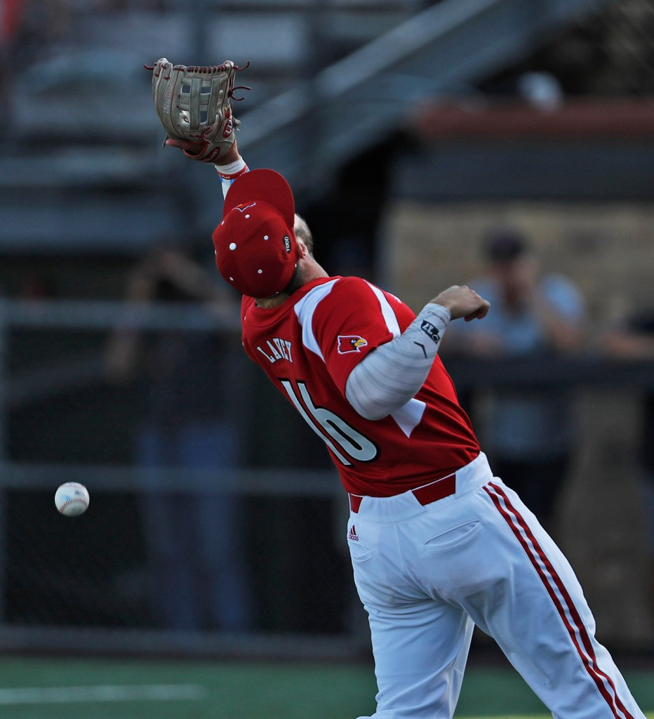 Louisville's Justin Lavey (16) misses a pop fly during an NCAA college baseball tournament regional game against Texas Tech, Sunday, June 3, 2018, in Lubbock, Texas. [Brad Tollefson/A-J Media]