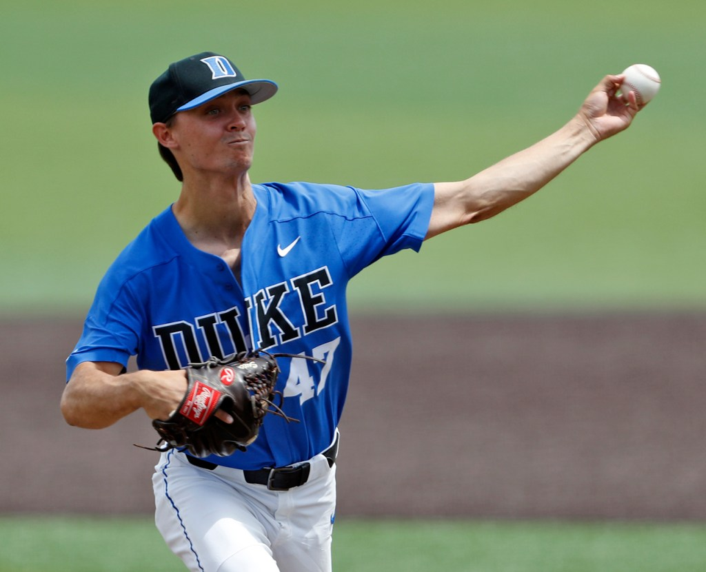 Duke's Mitch Stallings (47) pitches the ball during an NCAA college baseball tournament super regional game against Texas Tech, Saturday, June 9, 2018, in Lubbock, Texas. [Brad Tollefson/A-J Media]
