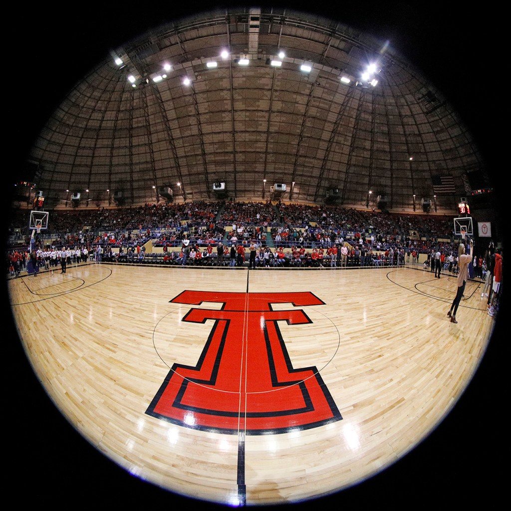 The Double T in center court before an NCAA college basketball game against Abilene Christian, Saturday, Dec. 15, 2018, in Lubbock, Texas. [Brad Tollefson/A-J Media]