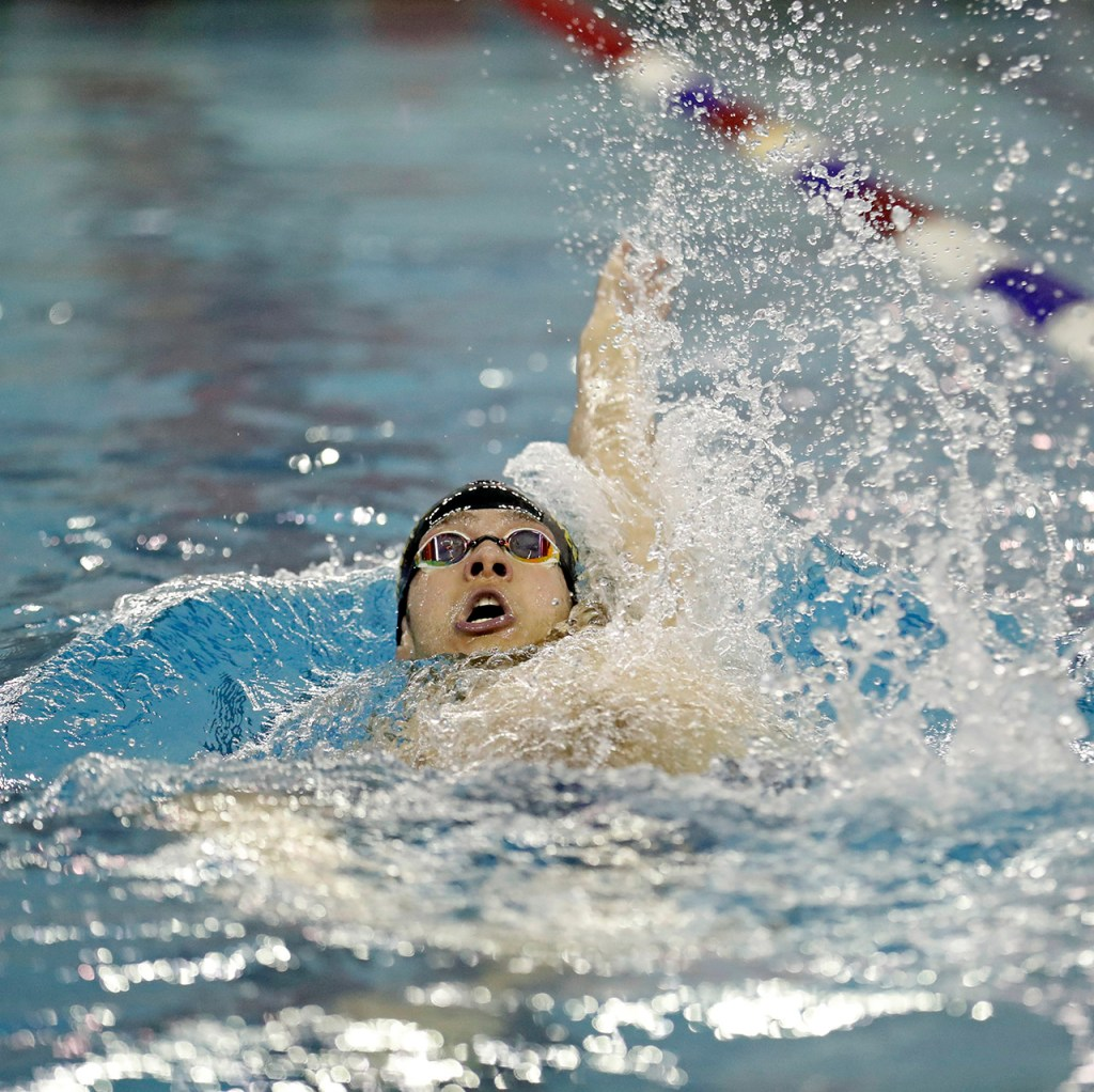 Lubbock's Kolos Nagy swims in the 200-yard individual medley race during the regional swim championship Saturday, Feb. 2, 2019, at Pete Ragus Aquatic Center in Lubbock, Texas. Nagy finished first in the race. [Brad Tollefson/A-J Media]