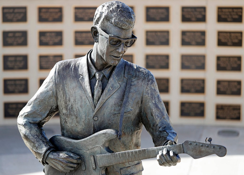 The statue of Buddy Holly on the 60 year anniversary of his death, Sunday, Feb. 3, 2019, in Lubbock, Texas. (Brad Tollefson)