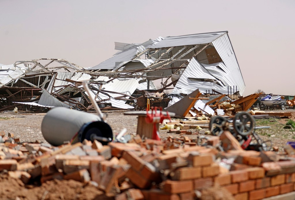 A demolished storage building after a tornado hit overnight Wednesday, March 13, 2019, in Anton, Texas. [Brad Tollefson/A-J Media]