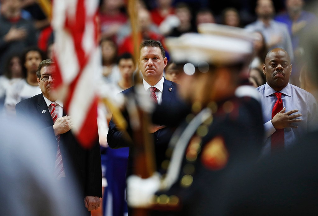 Texas Tech coach Chris Beard stands for the national anthem before the NCAA tournament second round game against Buffalo, Sunday, March 24, 2019, at BOK Center in Tulsa, Okla. [Brad Tollefson/A-J Media]