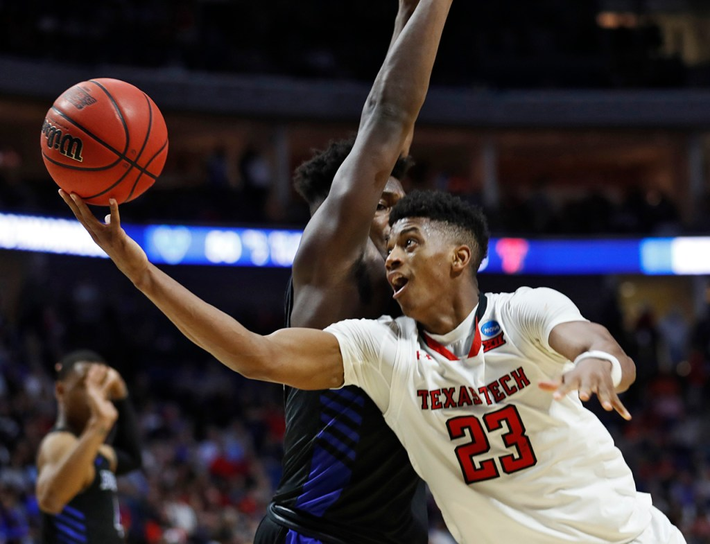 Texas Tech's Jarrett Culver (23) lays up the ball during the NCAA tournament second round game against Buffalo, Sunday, March 24, 2019, at BOK Center in Tulsa, Okla. [Brad Tollefson/A-J Media]