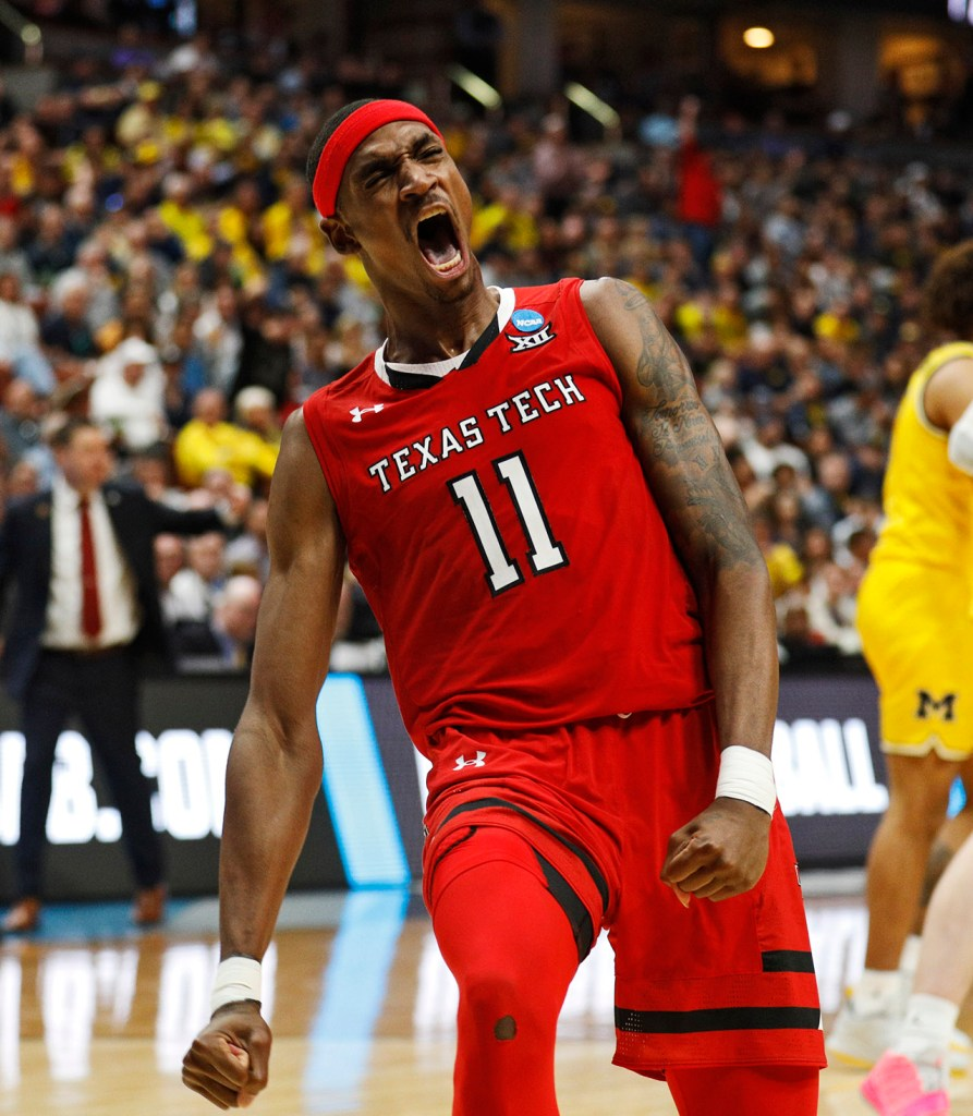 Texas Tech's Tariq Owens (11) reacts after dunking the ball during the NCAA tournament Sweet 16 game against Michigan, Thursday, March 28, 2019, at Honda Center in Anaheim, Calif. [Brad Tollefson/A-J Media]