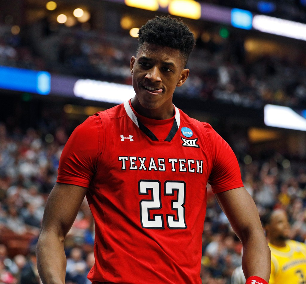 Texas Tech's Jarrett Culver (23) reacts after he is fouled during the NCAA tournament Sweet 16 game against Michigan, Thursday, March 28, 2019, at Honda Center in Anaheim, Calif. [Brad Tollefson/A-J Media]
