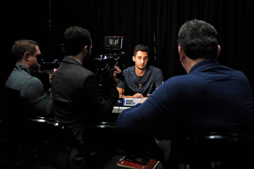 Texas Tech's Davide Moretti (25) talks to the media before the NCAA Tournament Elite 8 game against Gonzaga, Friday, March 29, 2019, in Anaheim, Calif. [Brad Tollefson/A-J Media]