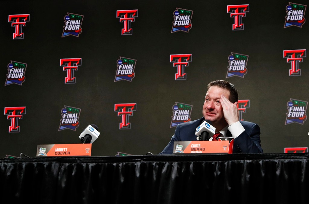 Texas Tech coach Chris Beard talks to the media in the interviews after the men's basketball national championship against Virginia, Monday, April 8, 2019, at U.S. Bank Stadium in Minneapolis, Minn. [Brad Tollefson/A-J Media]