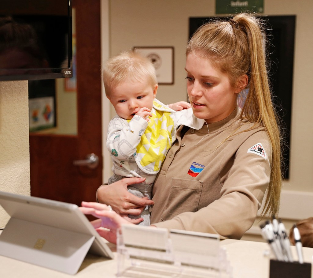 Holly Anderson checks in her son Connor Anderson at Primrose School of Midland at Westridge on Tuesday, April 23, 2019 in Midland, Texas. (Brad Tollefson/AP Images for Primrose Schools)