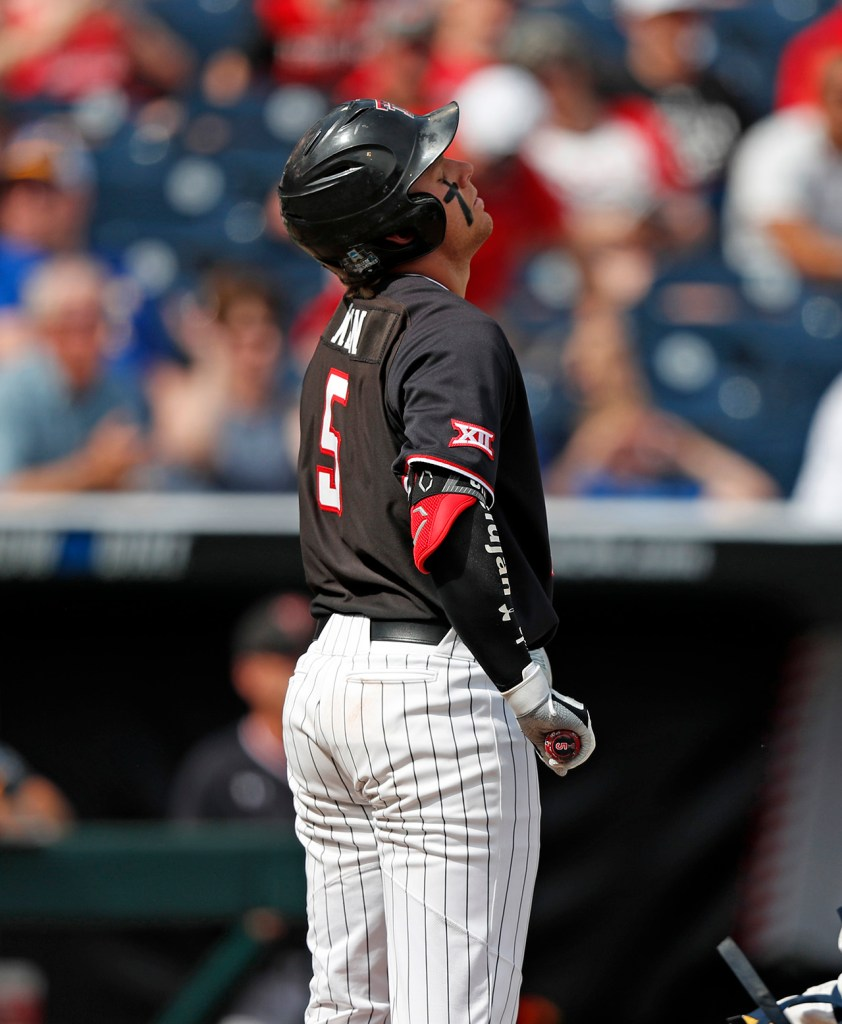 Texas Tech's Brian Klein (5) reacts after striking out during the College World Series game against Michigan, Saturday, June 15, 2019, at TD Ameritrade Park in Omaha, Neb. [Brad Tollefson/A-J Media]