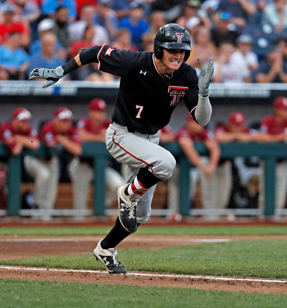 Texas Tech's Cody Masters (7) runs to first base during the College World Series game against Florida State, Wednesday, June 19, 2019, at TD Ameritrade Park in Omaha, Neb. [Brad Tollefson/A-J Media]