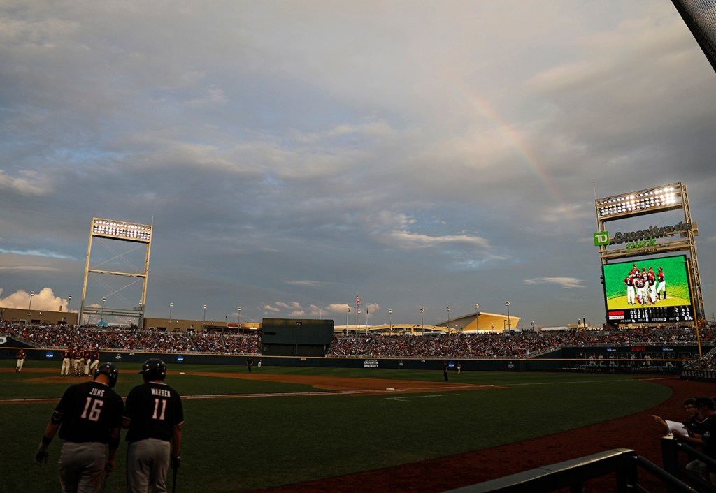 A rainbow in the sky during the College World Series game against Florida State, Wednesday, June 19, 2019, at TD Ameritrade Park in Omaha, Neb. [Brad Tollefson/A-J Media]