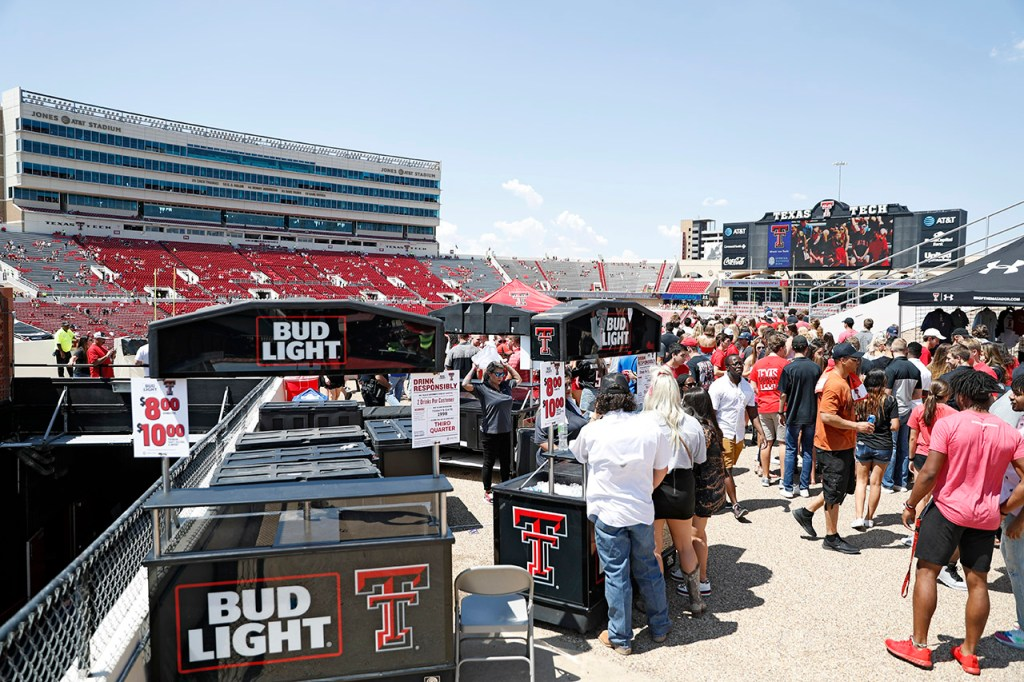 Texas Tech fans stand in line for alcohol sales before the NCAA college football game against Montana State, Saturday, Aug. 31, 2019, in Lubbock, Texas. [Brad Tollefson/A-J Media]
