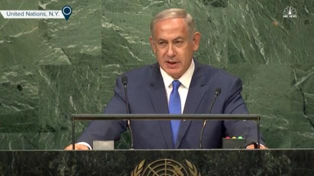 Image from NBC file footage of Netanyahu speaking at the U.N.